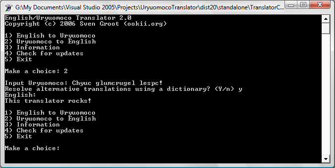 Screenshot of the English/Uryuomoco Translator Command-Line version